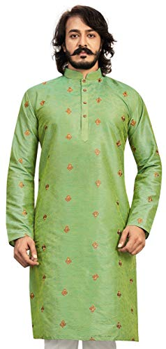 Akhanddeep Men's Traditional Stitched Cotton Silk Kurta