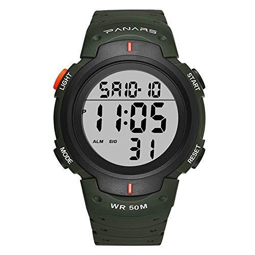 Digitaal Elektronisch Horloge Stappenteller met LED Backlight, Outdoor Running Waterdichte Analoge Horloge Stopwatch Schokbestendig Horloge