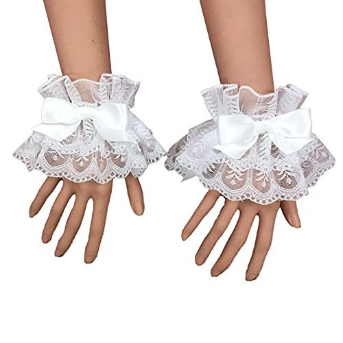 TiaoBug Damen Spitze Handgelenk Arm Manschette Rüschen Handgelenkmanschette Armstulpen Lolita Armband Cosplay Party Fasching Bekleidung Accessoires Weiß A One Size