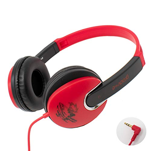 Groov-e Kidz Stereo Headphones for Kids, Children, Boys, Girls, Smart-Phone, iPhone, MP3, iPod, Music, Tablet, Computer, Gaming - RED