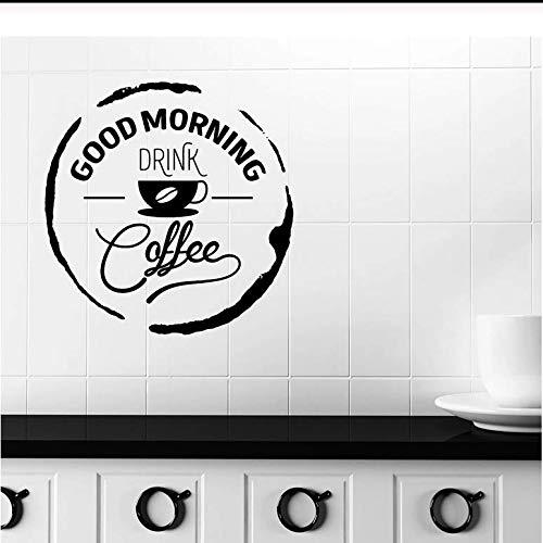 Goedemorgen Muursticker Woord Citaat Drink Koffie Vinyl Raam Sticker Café Restaurant Interieur Decoratie Lettering Art Mural 57x57cm