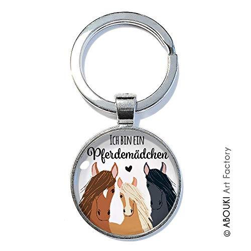 Pferdemädchen - ABOUKI | handgefertigter Glücksbringer Taschenanhänger Pferde-Schlüsselanhänger mit Spruch