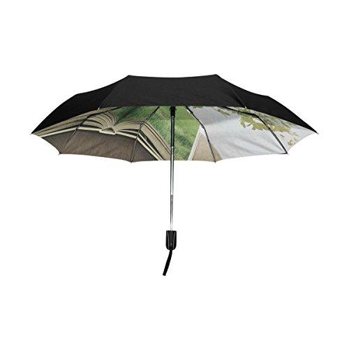 TIZORAX Groene Papier Vlinders Vliegen van Boek Winddicht Winddicht Opvouwbare Regen Reizen Luifel Paraplu Auto Open Sluitknop