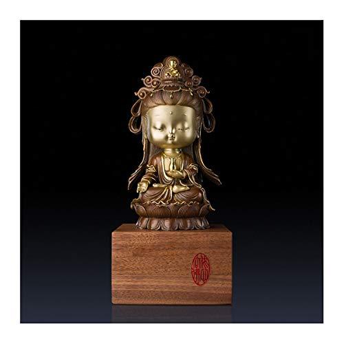 Estatuas Tao Agua y Luna Quan Yin Estatua, de 12 Pulgadas de latón Escultura Budista de Kwan Yin con Base de Madera