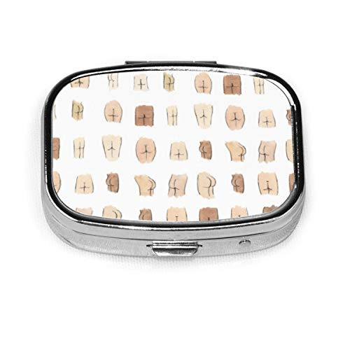 Pill Container Medicine Box Metal Pill Box Travel Pill Decorative Case to Hold Vitamins/Supplements for Purse/Pocket,Butts