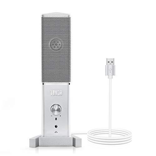 TONOR Microfono per Conferenza USB PC Microfono TC-1020 Microfono a Condensatore per Computer Mac e Windows con Porta per Cuffie da 3,5 mm per Registr