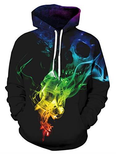 ALISISTER 3D Druck Hoodie Buntes Rauchen Digital Kapuzenpullover Sweatshirt Teens Jungen Mädchen Langarm Taschen Pullover Kapuzenpullis mit Fleece-Futter L