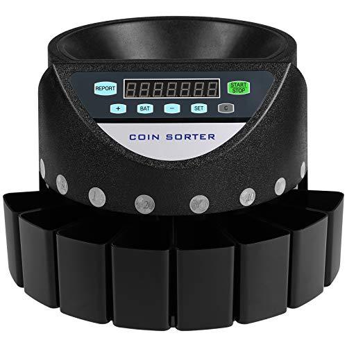 Contador de Monedas Euro Profesional, 300 Monedas por Minuto, Clasificador de Monedas con Pantalla LED de 7 Dígitos, Máquina de Conteo de Monedas con 8 Cajas de Recolección de Alta Precisión