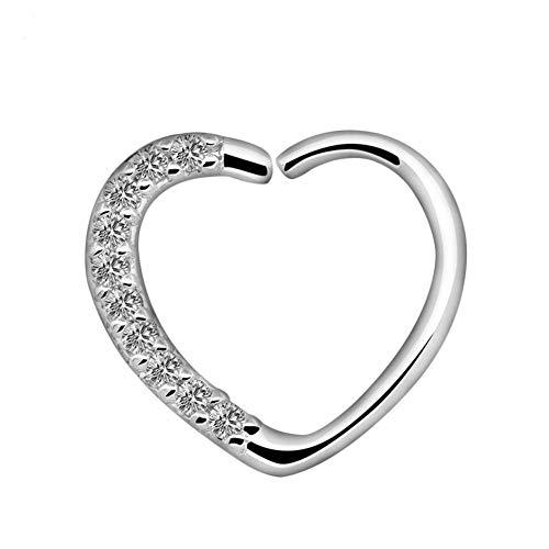 Vektenxi - Piercing de aro abierto para la nariz, forma de corazón, circonita, para mujer, joyería duradera y útil