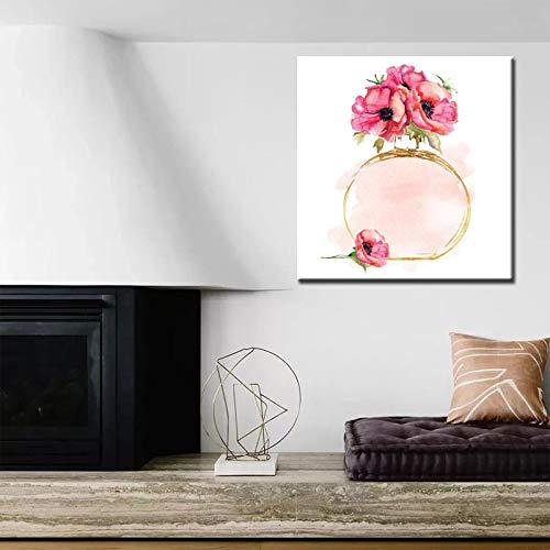 Domrx Pintura de Acuarela Moderna Botellas de Perfume con Flor Impresa en Lienzo Imagen de Pared artística para Sala de Estar Decoración para el hogar-50x60cm Sin Marco