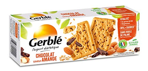 Gerblé Vitalité, Biscuits Chocolat Amandes, Allégés en sucres, Sans huile de palme, 1 boîte de 16 biscuits, 200g