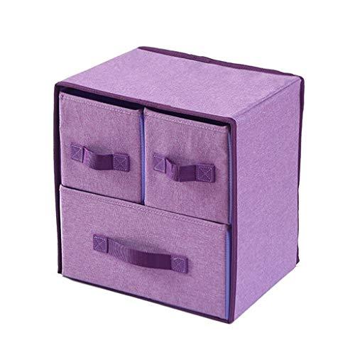 Tie Box Chambre Accueil Voyage Multi-Fonctions sous tiroir de Rangement en Tissu Boîte de Finition de Grande capacité Portable Multi-réseau Boîte de Rangement (Color : Purple 2)