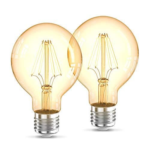 B.K.Licht 2er Set G80 Edison Vintage Glühbirne I E27 4W 2200K 320lm I Warmweiß I LED Glühbirne I Retro Glühlampe I Filament