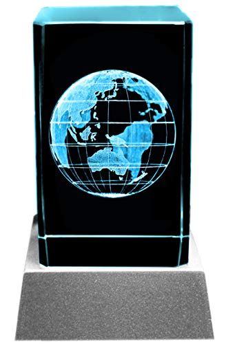 Kaltner Präsente Sfeerlicht - Een heel bijzonder cadeau: Wereld wereldbol Globus/LED-kaars/kristal glazen blok / 3D-lasergravure Aarde