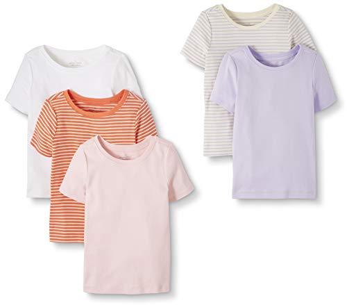 Moon and Back by Hanna Andersson Lot de 5 T-shirts à col rond en coton bio pour tout-petits, enfants, rose, 2 ans (82-87 CM)