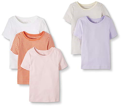 Moon and Back by Hanna Andersson Toddler Kids 5-Pack Organic Cotton Crew Neck Tee, Pink, 3T