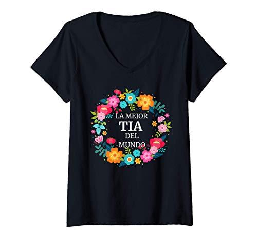 Mujer LA MEJOR TIA DEL MUNDO Dia de las Madres regalo gift Camiseta Cuello V