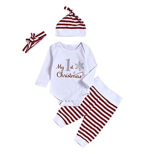 QinMMROPA Conjunto de Ropa de Navidad para bebé niña niño Camiseta Tops + Pantalones Rayas + Gorro Recien Nacido Conjunto de Ropa Fiesta Rojo 80