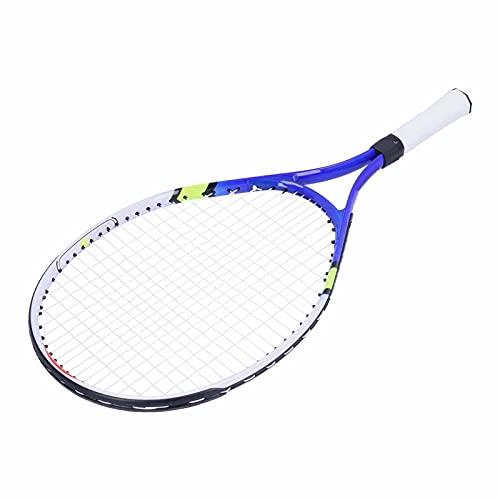 BOTEGRA Raqueta de Tenis, Entrenamiento cómodo del Tenis del Marco de la aleación de Aluminio de la manija de la PU para Entrenar para el Deporte(Azul)