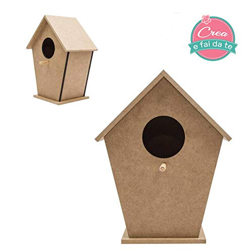 Roze talent nesthuis voor vogels van hout 16,5 x 10,5 x 20,5 cm voor decoratie, decoupage, schilderen, decoreren, knutselen
