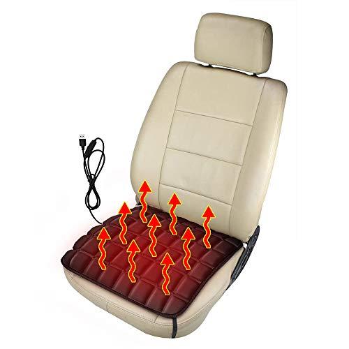Heizung Auto Sitzkissen, Beheizbare Kissen, Sitzheizung Auto aus Memory Schaum,USB/Zigarettenanzünder Komfort Sitzkissenheizung Perfekt für Kaltes Wetter und Winterfahrten (Schwarz USB)