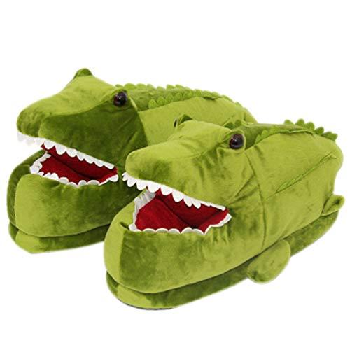 SHJMANSY Bequem Süßer Plüsch Hausschuhe Krokodil, rutschfeste Heiß Winter Hausschuhe, Unisex Hai Pantoffel rutschfest, Crocodile