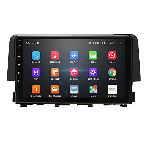 Android 9.0 2 Din Navigazione GPS per auto Radio stereo Bluetooth per Honda Civic 2016-2018 con supporto touch screen da 8 pollici Mirror-link WiFi FM DVR OBD2 DAB +