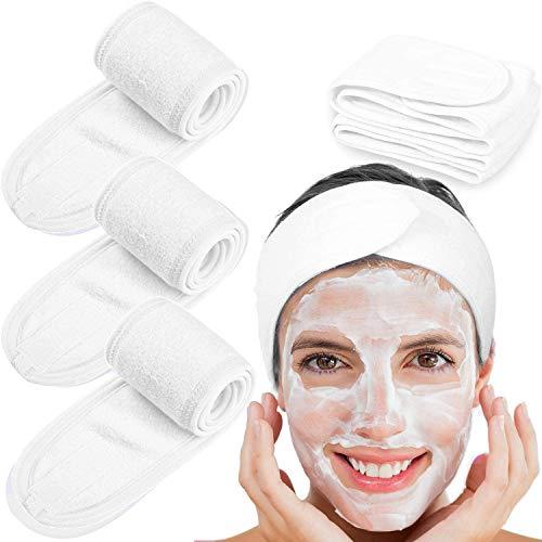 3Pcs Spa Facial Diadema Maquillaje Baño Deporte Envoltura para la cabeza Terry Cloth Diadema Estiramiento Toalla con cinta mágica para lavarse la cara Blanco