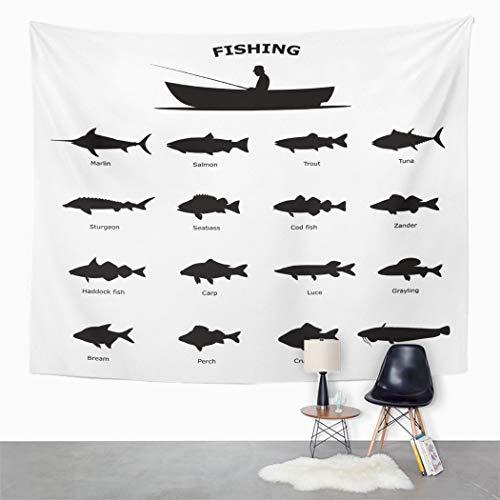 Y·JIANG Tapiz negro, pesca de río de mar peces animales acuáticos barco hogar dormitorio tapiz grande decorativo pared amplia manta colgante para sala de estar, dormitorio, 203 x 152 cm