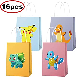 16 PCS Video Gaming Party Goodie Bags for Pokemon Themed Party Supplies Party Decorations for Kids Adults Birthday Party Supplies
