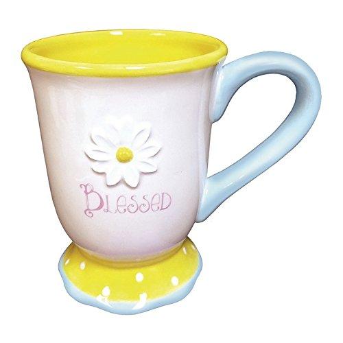 Divinity Boutique 24398 Sunshine Decor Mug With Embossed Daisy, Multicolor