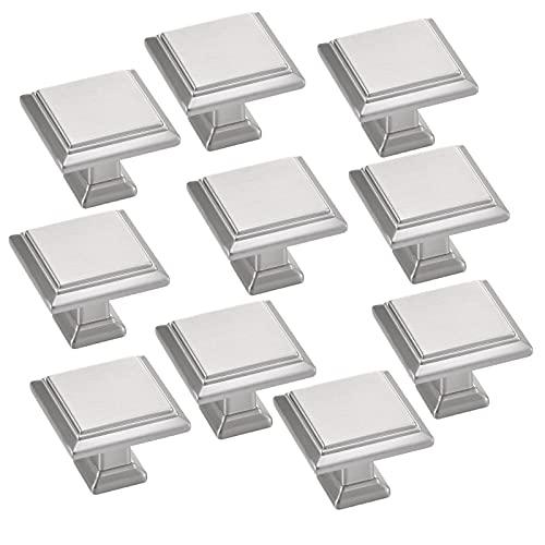 Litulituhallo - 10 pomelli per cassetti da 28 mm, per ante di mobili, in nichel satinato, colore: Argento