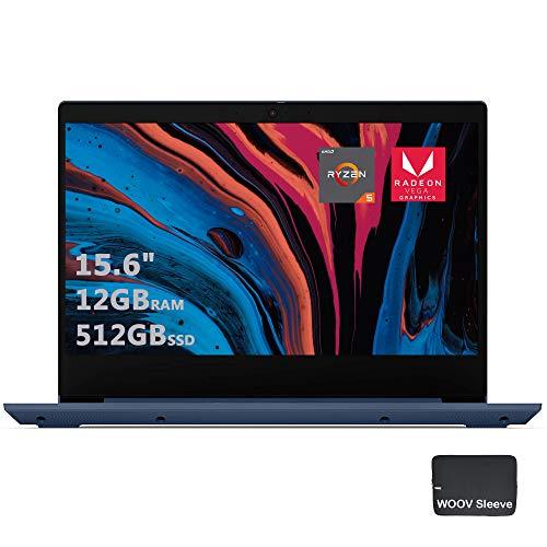 "Lenovo IdeaPad 3 15.6"" Premium Laptop | Quad-Core AMD Ryzen 5 3500U Processor | Full HD IPS Display | 12GB DDR4 RAM, 512GB PCIE SSD, Bundled with Woov Sleeve, Windows 10, Blue"