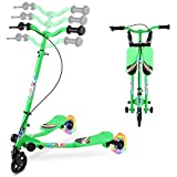 AODI Y Flicker Scooter for Kids, 3 Wheels Foldable Swing Scooter Push Drifting with Adjustable & 2 Rear LED Wheels Wiggle Scooter for Boys and Girls Ages 3-8