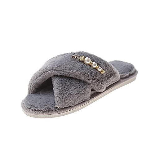 xinghui Chanclas Zapatos de Mohell Cross Home Wear Slippers Planos-Gris_41