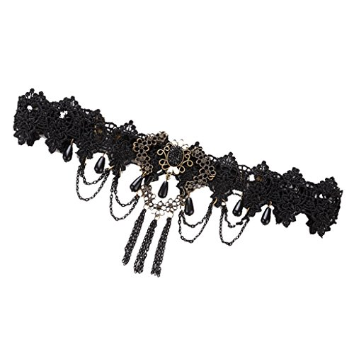 Milageto Banda para el pelo de novia con banda para el pelo de encaje negro retro gótico
