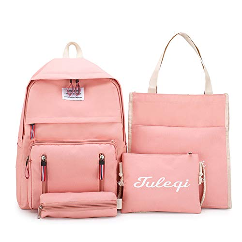 FDQNDXF Students Canvas Backpack Set, A Unisex Waterproof Canvas Large-Capacity Portable Backpack 4 Piece Set; Multifunctional Leisure Daypack,Pink