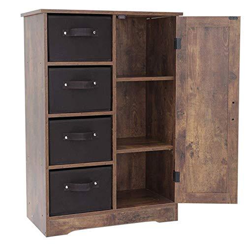USIKEY - Cómoda torre de almacenamiento con 4 cajones extraíbles y 1 gabinete, armario de almacenamiento con estantes, 60 cm de largo...