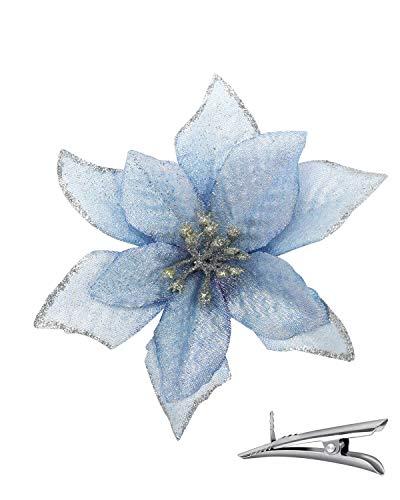 24PCS Poinsettia Flowers for Tree Skirt Christmas Decorations - Blue Christmas Flowers Artificial for Decoration, Christmas Ornament Picks Good for Christmas Tree Wreath, Seasonal Wedding Decor