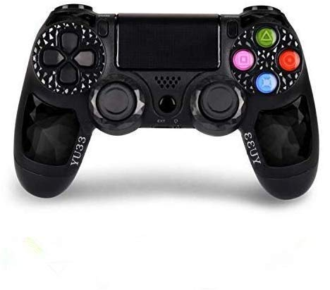 2 Pack Wireless Controllers for PS4 and for Playstation 4 Control - YU33 for DS4 Remote Joystick Support Playstation 4,Pro/Slim PS4,PC,PS TVs,Smart TV?Black+Red Diamond