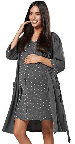HAPPY MAMA Para Mujer Set Camisón Bata Premamá Embarazo Lactancia 1343 (Grafito, 38, M)