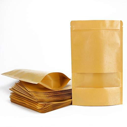 ARTESTAR 50 Piezas Bolsas de Papel Kraft marrón con Ventana, Bolsas Zip de Almacenamiento, Bolsa de Regalo, Bolsas de Regalo de Bricolaje de Papel Reciclado para almuerzos de Fiesta (16 × 26 cm)