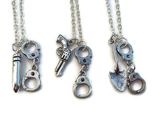 3 Partners In Crime Necklaces, Best Friends Set, Friendship Necklace