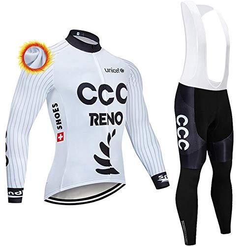 Ropa Ciclismo Invierno Hombre Equipacion con 3D Acolchado De Gel, Térmico Cálido Traje Ciclismo Maillot Ciclismo + Pantalones Bicicleta para Ropa Ciclista MTB