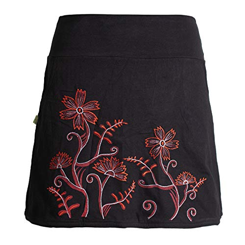 Vishes - Alternative Bekleidung - Kurzer Damen Hippie Zwiebelmuster Blümchen-Rock mit Taschen schwarz 40