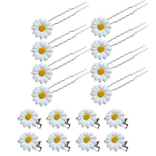 Pinza de Pelo el Cabello de Margarita Horquillas Para el Cabello de Flor Accesorios Para el Cabello Para la Novia de Novia Mujer Decoración Para el Pelo 16PCS (Blanco)