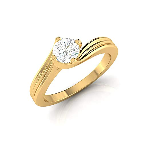 0.34 Ct SGL Certified Diamond Solitaire Ring, Women Promise Spiral Shank Ring, HI-SI Color Clarity Diamond Wedding Ring, Anniversary Statement Ring, 14K Yellow Gold, Size:UK K1/2