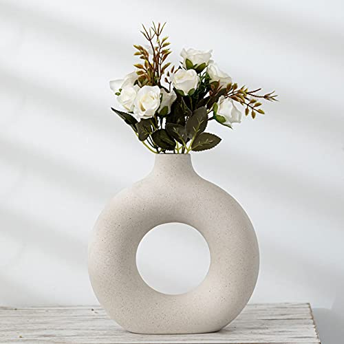 Pevfeciy Keramik vase beige Moderne deko Kunst Vase Runde Form Vasen Abstraktion Blumenvase Dekoration Ins Style Blumenvase für Home Office Dekor, Geschenk für Hochzeit Einweihungsparty feiern
