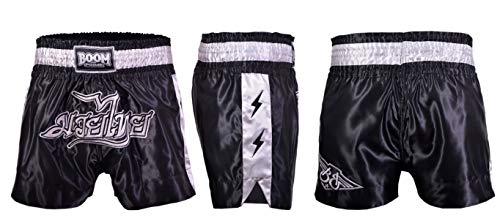 BOOM Prime Muay Thai Pantaloncini Combattimento Arti Marziali Grappling Kick Boxing Pantaloncini Allenamento Arti Marziali Uomo - Nero E Grigio, M (29'-32' Waist)