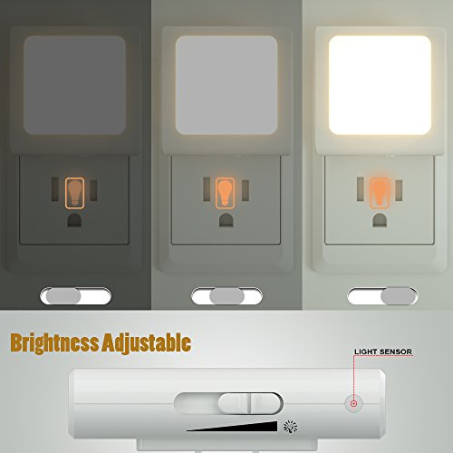 Plug in LED Night Light with Dusk to Dawn Sensor and Adjustable Brightness with Switch Nightlight for Living Room, Kids Baby Adults Bedroom, Kitchen Room, Hallway, Stairway, 2 Pack, Warm White